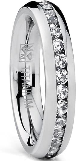 Ultimate Metals Co 3MM High Polish Princess Cut Ladies Eternity Titanium Ring Wedding Band with CZ
