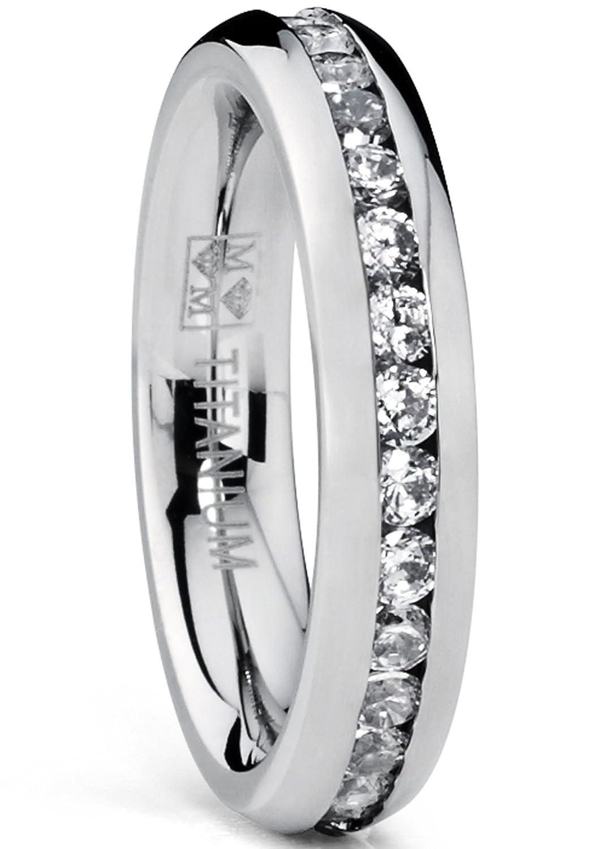 Ultimate Metals Co. 4MM High Polish Ladies Eternity Titanium Ring Wedding Band with CZ TIR11095