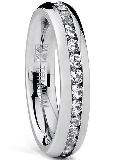 6MM Ladies Eternity Titanium Ring Wedding Band with CZ rYbxeuKy