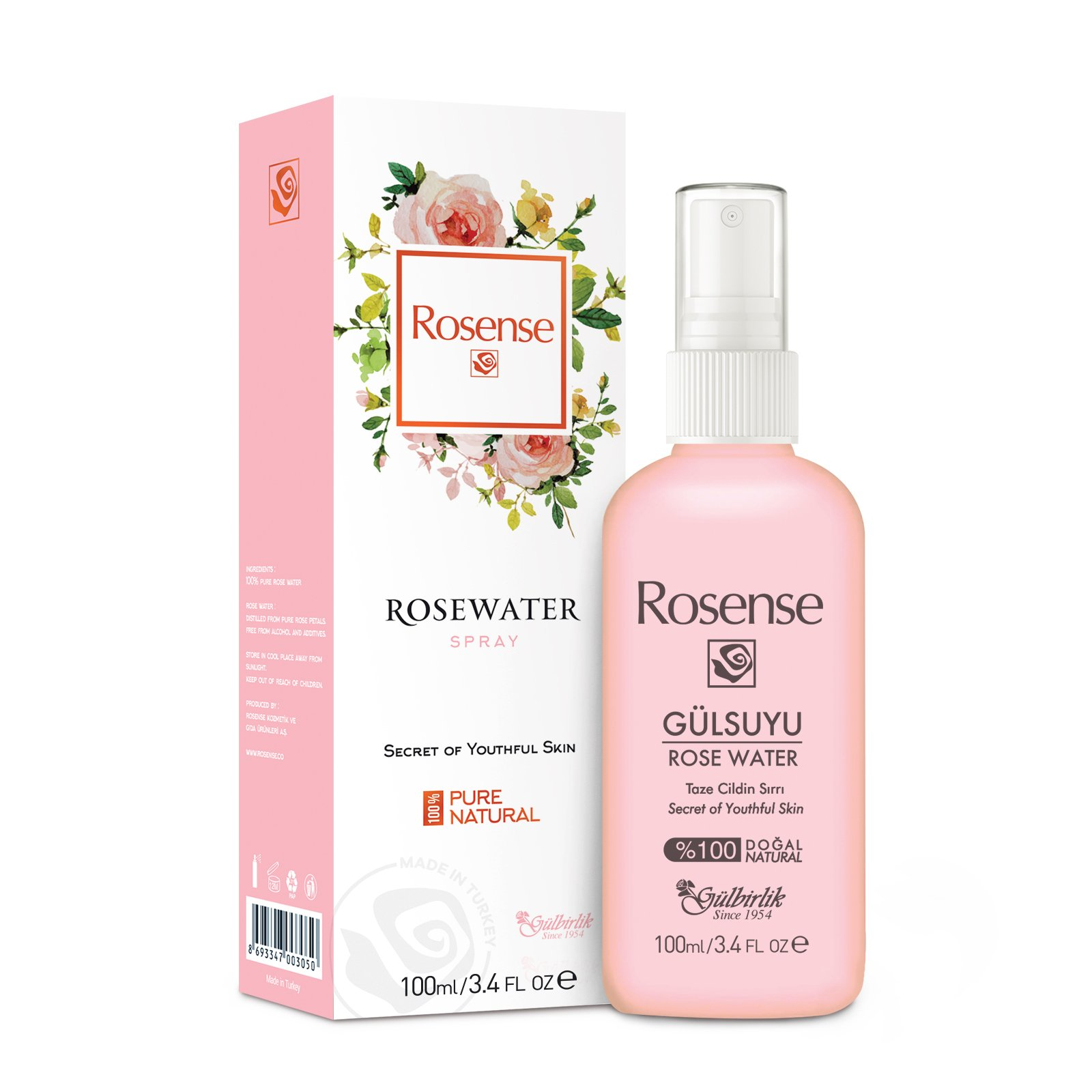 100% Pure Natural Vegan Turkish Rosewater Hydrating Face Mist/Rose Water Face Toner (No Additives, No Chemicals, No Preservatives) 100mL/3.4 Oz by Rosense