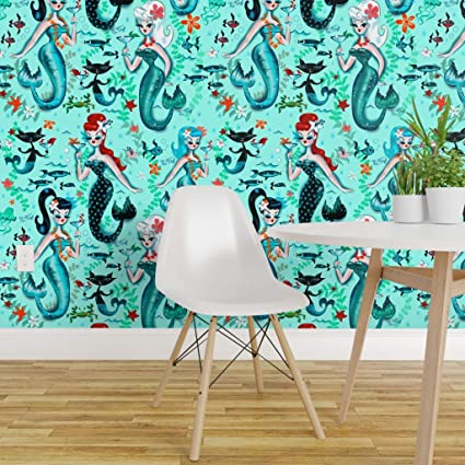 Spoonflower Peel And Stick Removable Wallpaper Mermaids