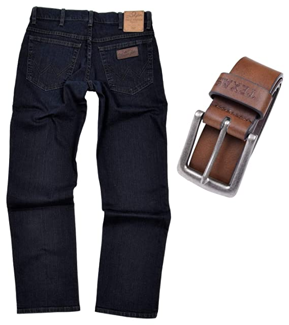 Wrangler Texas Stretch Herren Jeans Regular Fit inkl. Gürtel (W34L32, Blue Black + brauner Gürtel)