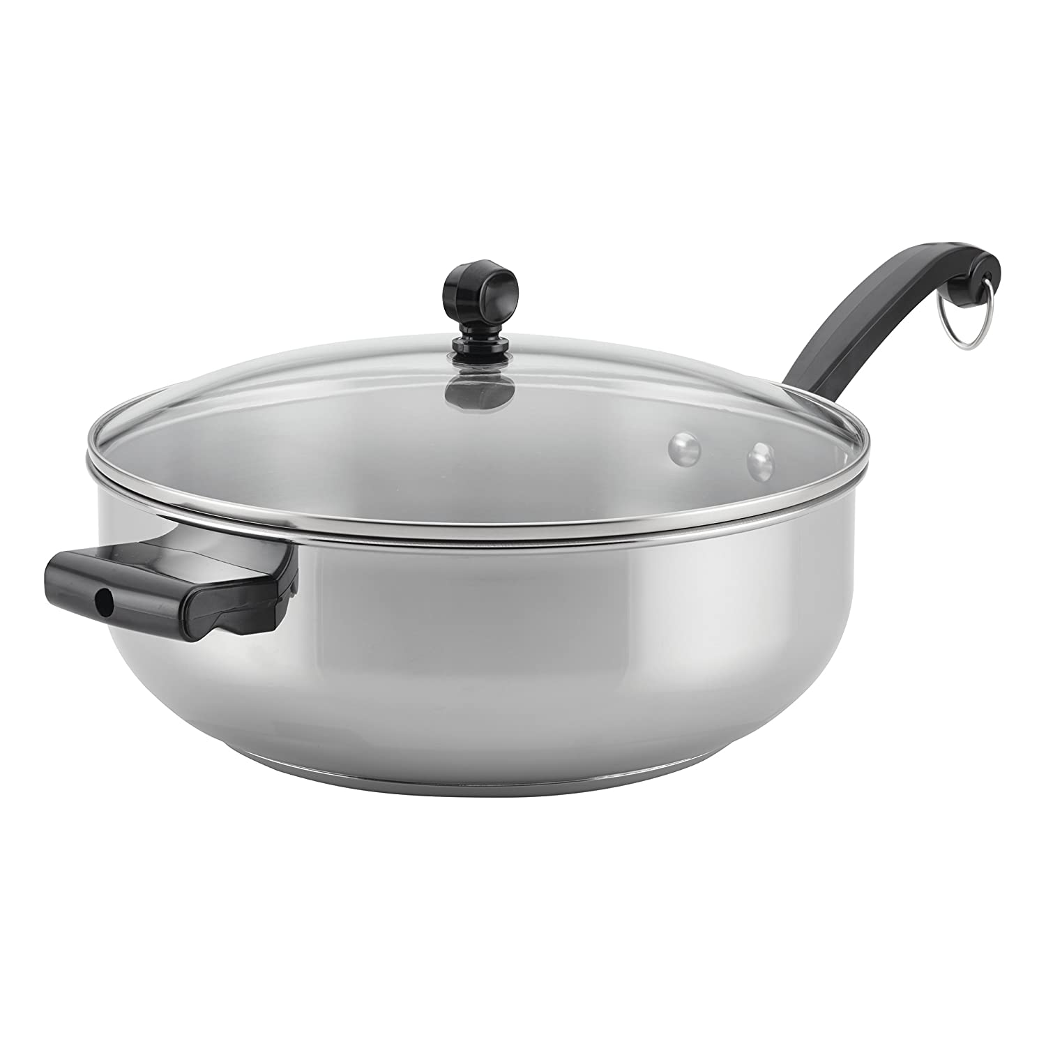 Farberware Classic Stainless Steel Cookware Covered Chef Pan, 6-Quart, with Helper Handle 70121