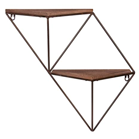 huge discount 60602 d7940 Two Step Wood and Metal Geometric Triangle Wall Shelf