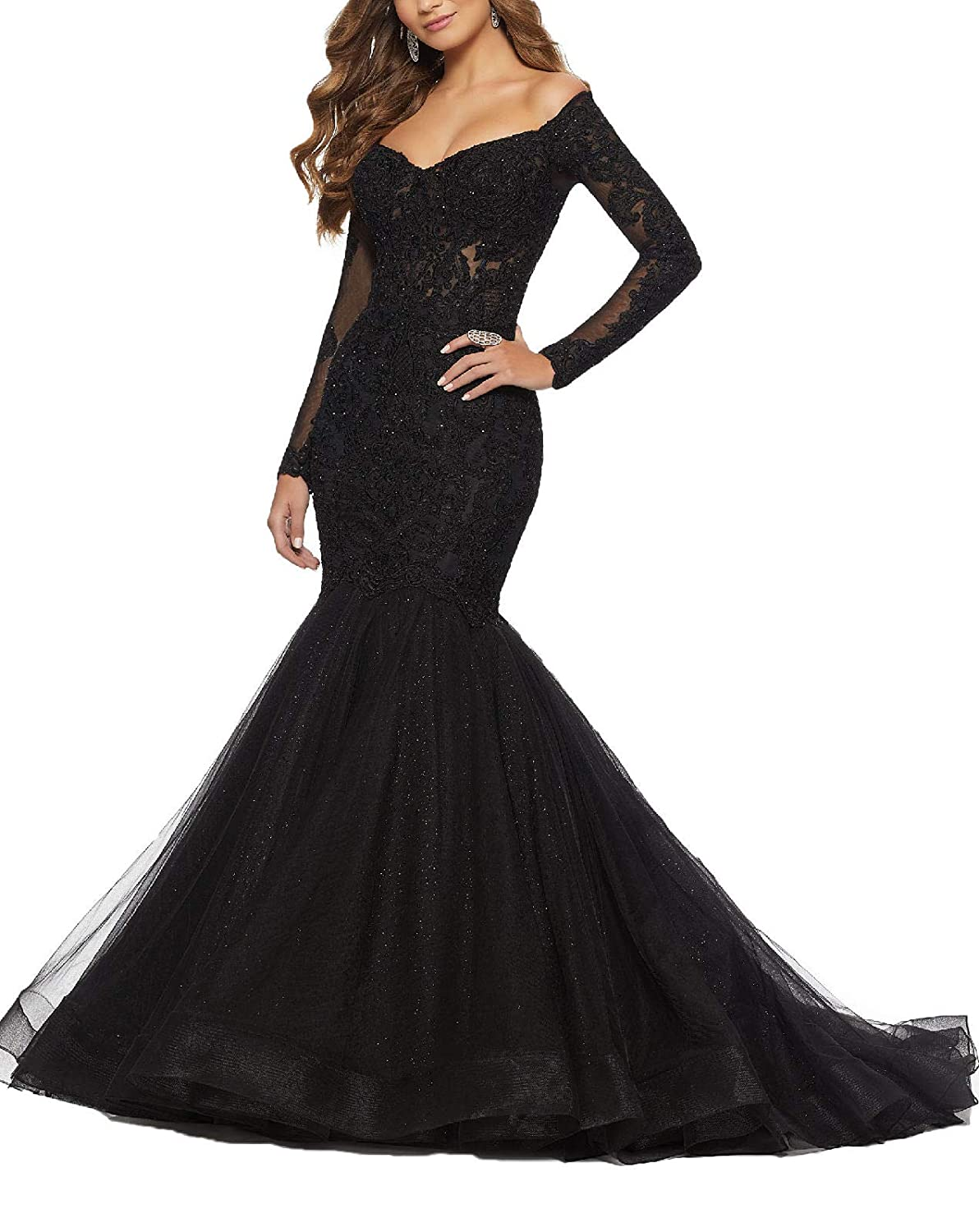 Black Yisha Bello Women's Off The Shoulder Long Sleeve Mermaid Pro Dress Lace Applique Beaded Evening Dress Formal Ball Gowns