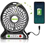 Battery Operated Desk Fan, Mini USB Portable Fan with Emergency Light, Adjust 3 Speed, 2600mAh Rechargeable Battery and USB Powered Fan, Personal Cooling Fans for Car, Gym, Office, Camping,Travel,BBQ