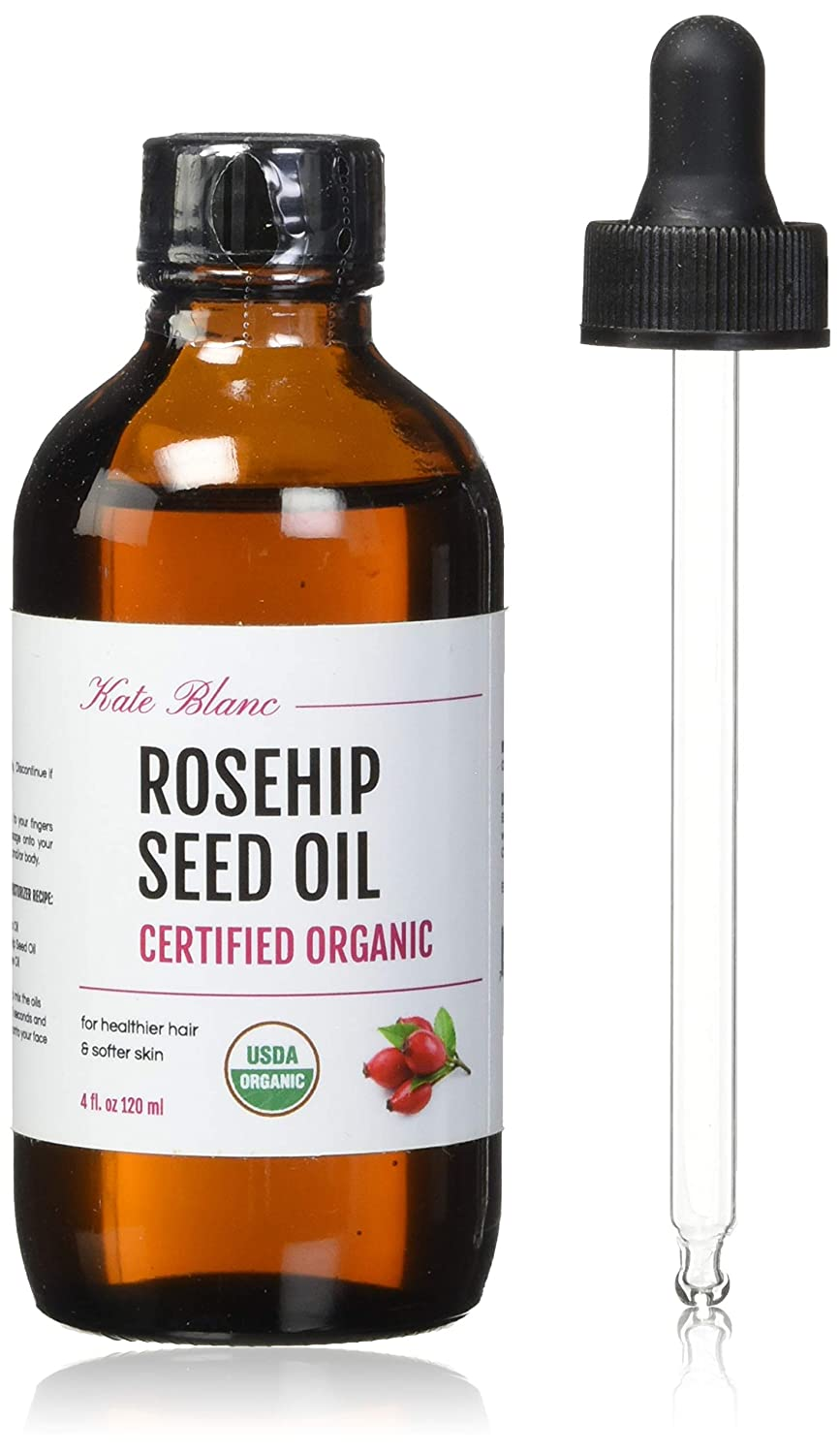 Organic Rosehip Seed Oil (4oz) for Face and Skin by Kate Blanc. USDA Certified, 100% Pure, Cold Pressed. Natural Moisturizer for Acne Scars, Nails, Hair, Skin. Therapeutic AAA+ Grade.: Beauty