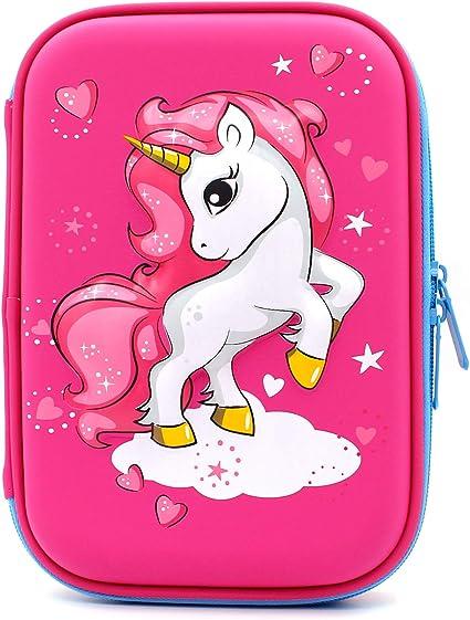 Estuche con diseño de unicornio volador en relieve, caja de suministros para la escuela grande con compartimentos, bolsa para lápices de papelería para niñas y niños, color hot pink: Amazon.es: Oficina y