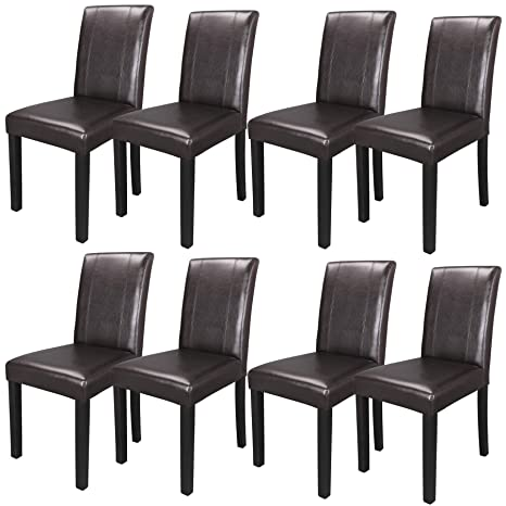 Cool Zeny Set Of 8 Solid Wood Leatherette Padded Parson Chair Dining Chair Brown Furniture Urban Style Creativecarmelina Interior Chair Design Creativecarmelinacom