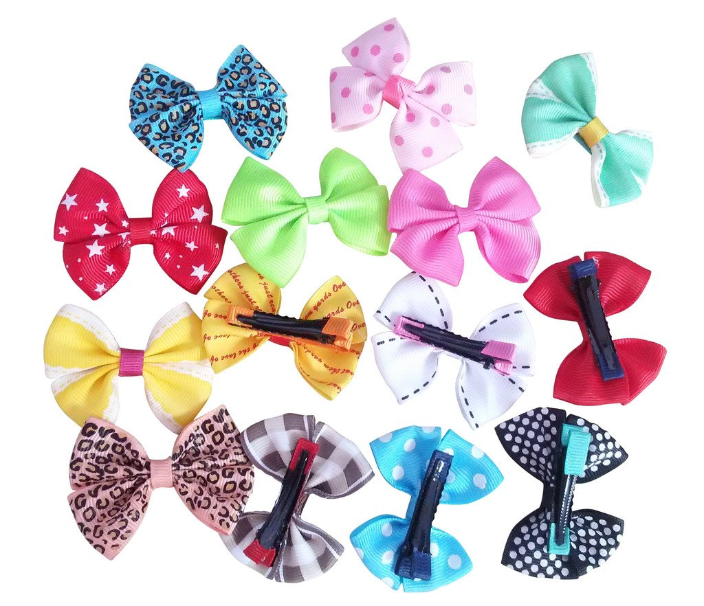 PET SHOW Dog Hair Bows with Alligator Clips Bowknot Hair Clips Cat Puppy Yorkshire Grooming Hair Accessories Assorted Pack of 20