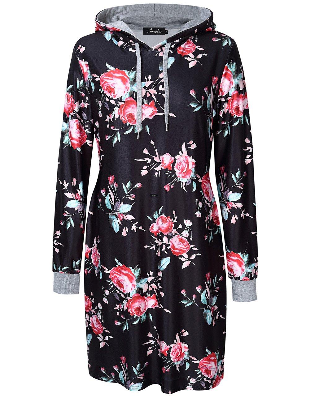 AMZ PLUS Womens Plus Size Pullover Keen Length Slim Sweatshirt Causal Hoodie Dress Black 5XL