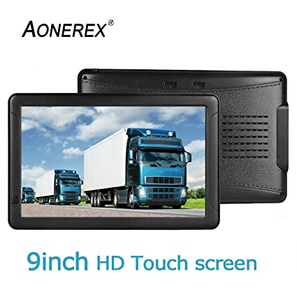 9inch HD AONEREX GPS Navigation for car/Truck Capacitive Big Touchscreen,  [2019 Upgraded Version] Voice Trun-by-Turn Route Guidance, Speed Limit