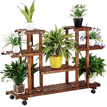 Yaheetech Estantería de Macetas Estante de Plantas Soporte Decorativo para Jardín con Ruedas: Amazon.es: Jardín