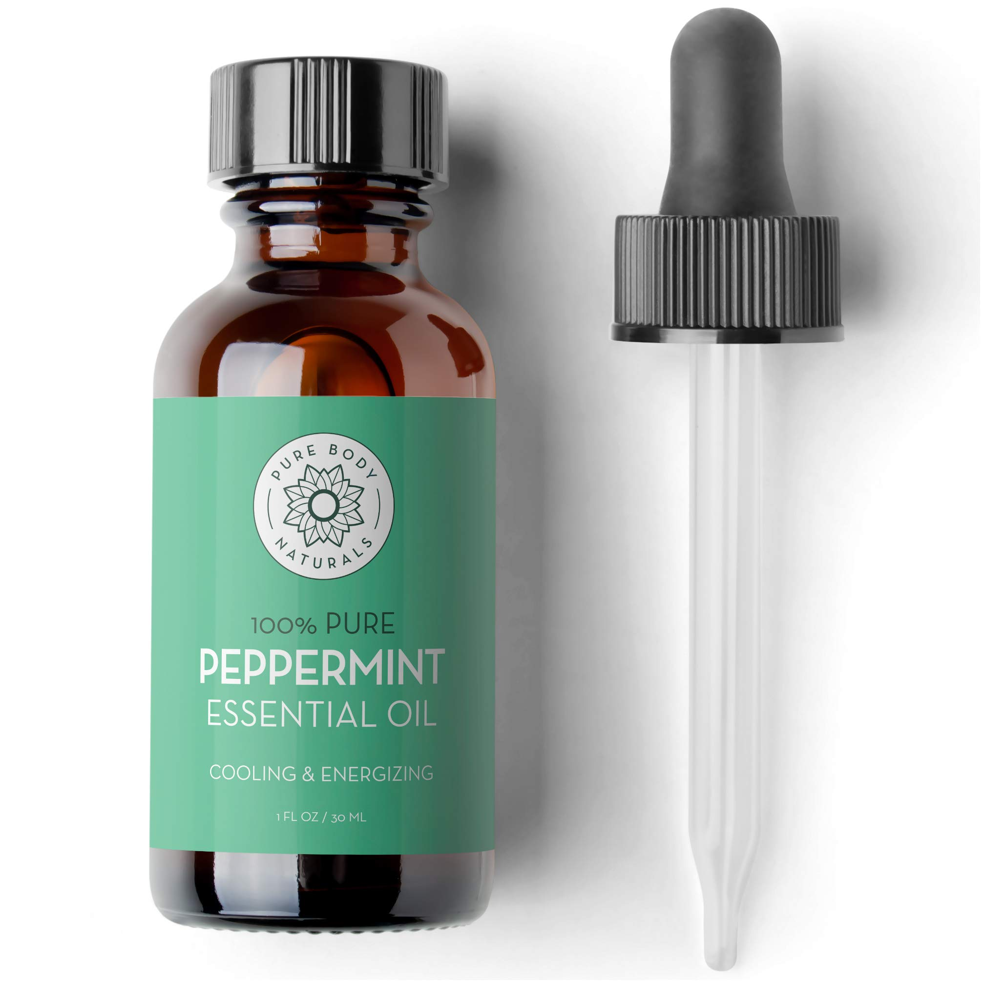 Peppermint Essential Oil, 1 Fluid Ounce - 100% Pure and Undiluted, Therapeutic Grade Aromatherapy Oil for Diffuser, Relaxation, Focus, Pain Relief - by Pure Body Naturals