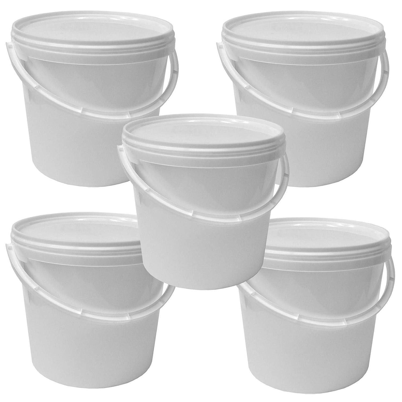 Lot de 5 seaux plastique 5 L conteneur alimentaire avec hanse et couvercle (5x22052) Wilai GmbH