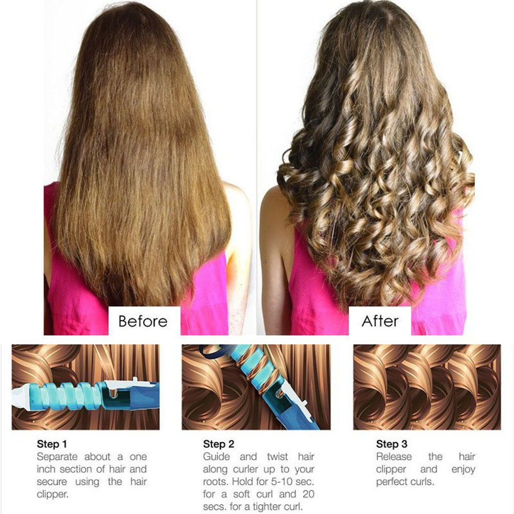 Amazon electric hair spiral curler deep waver curling iron amazon electric hair spiral curler deep waver curling iron wand hot tool bluetop purple beauty urmus Gallery