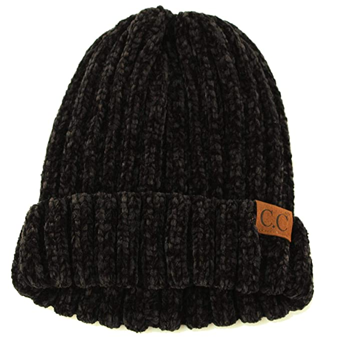 Winter Soft Chenille Chunky Knit Stretchy Warm Ribbed Beanie Hat Cap Black c1b9f0d06a7