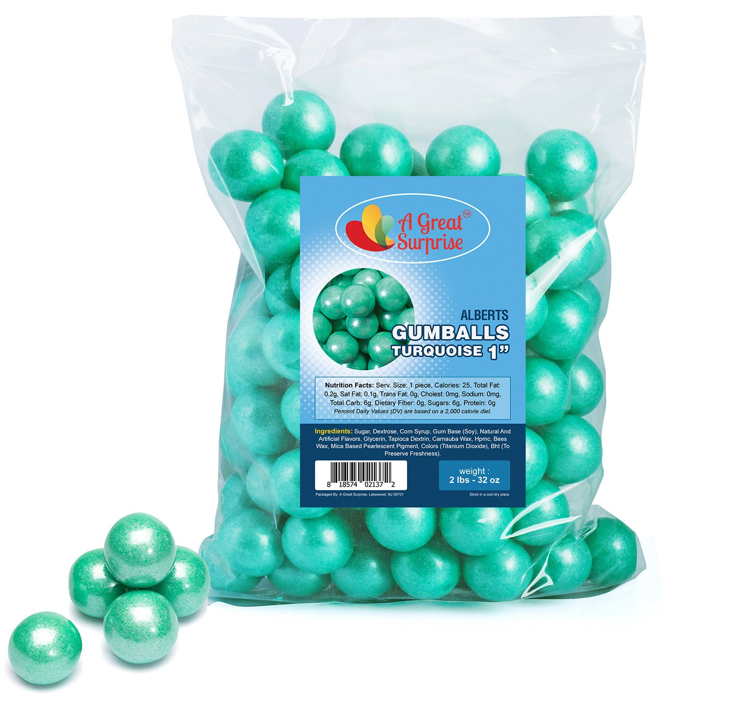 dc265e704 Amazon.com   Gumballs in Bulk - Turquoise Gumballs for Candy Buffet -  Shimmer Gumballs 1 Inch - Bulk Candy 2 LB   Grocery   Gourmet Food