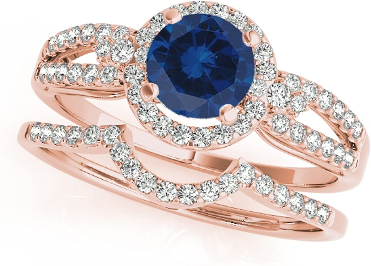 1.25 Ct. Halo Sapphire And Diamond Engagement Bridal Set In 14k Rose Gold