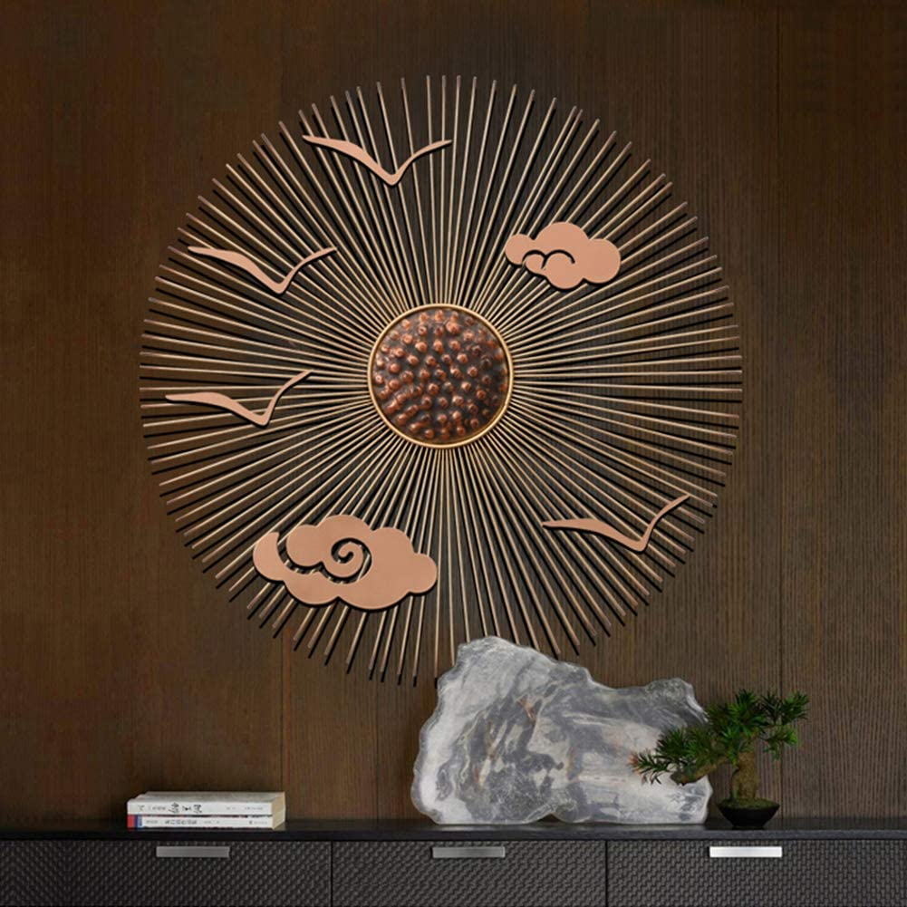 KLMB Metal Wall Art Creative Sun Flower Shape Handmade Metal Wall Decoration New Chinese Wrought Iron Crafts Hanging Wall Décor Scholarly and Elegant for Living Room Bedroom Hotel