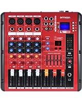 ammoon Mezclador de Audio Consola de Mezcla Bluetooth digital Línea de Micrófono 4 Canales EQ de 2 Bandas con 48V Phantom Power Interfaz USB para la Grabación de DJ Stage Karaoke Music Appreciation