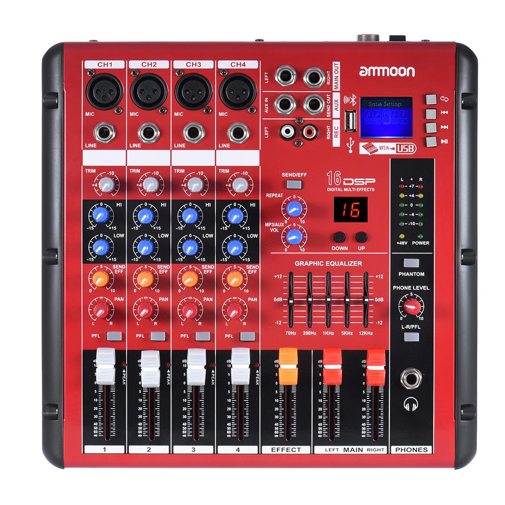 ammoon Digital BT 4-Channel Mixer Mixing Console 2-band EQ with 48V Phantom Power USB Interface for Recording DJ Stage Karaoke Music Appreciation mic mixer