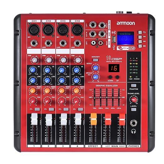 2 opinioni per ammoon Mixer 4 Canali Digitali Bluetooth Line Mic Kit Stereo 2 Bande Di