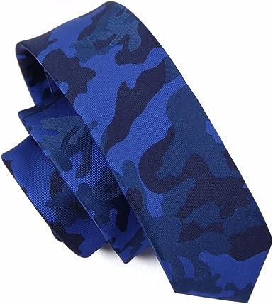 HXCMAN 5cm azul rojo verde turquesa camuflaje estrecha corbata ...