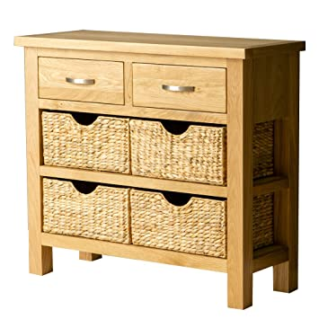 Roseland Furniture Ltd London Oak Console Table With Baskets Hall