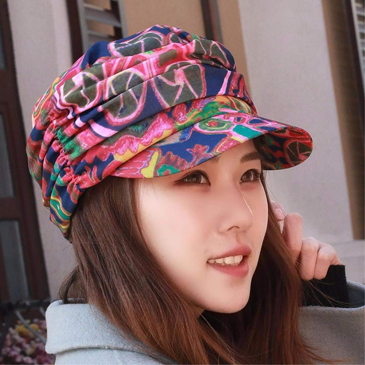 F BRNEBN Female spring and summer cap flat top hat stylish visor outdoor alpine hat CLOTH HAT