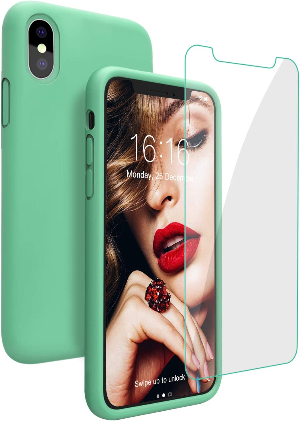 Silicone Case for iPhone X/iPhone Xs Case, JASBON Liquid Silicone Case with Free Screen Protector Gel Rubber Shockproof Cover Full Protective Case for iPhone Xs/X -Mint Green