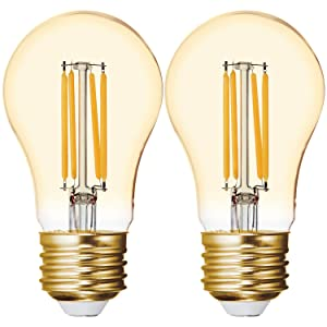 GE Lighting 42161 Dimmable LED Vintage Style 4 (40-Watt Replacement), 240-Lumen Light Bulb with Amber Glass A15, 2-Pack, Warm Candle