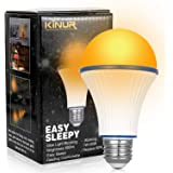 KINUR Amber Light Bulbs, Soft Warm Sleep Light Bulbs,Blue Light Blocking UL Listed A19 7 watt-60 Watt Equivalent for Healthy
