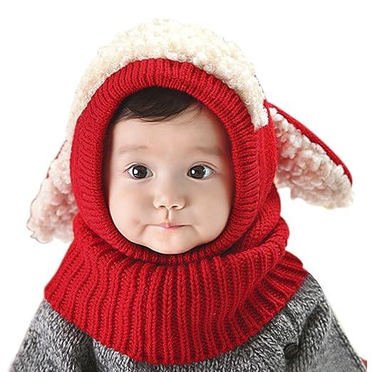 YJZQ Bonnet Chiot en Laine Snood Bébé Cadeau Noël Cagoule Jaquard Polyester  Tour Cou Enfant Cache Cou Oreilles Chaud Bébé Chapeau Tricot Hiver pour  Enfant ... 9a9d704b7a4