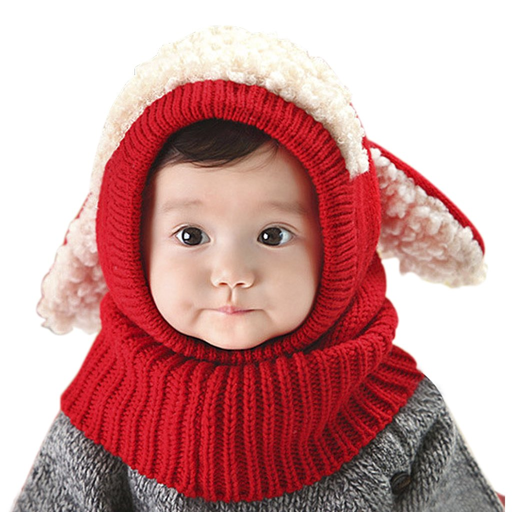 Toddlers Hat Scarf Set in One Infant Boy Girl Animal Coif Hood Cap Winter Warm Knitted Cartoon Pattern Neck Collar Head Wraps Cute Long Ears Kids Outdoor Thick Crochet Cotton Snood Shawl Xmas Gift Kit