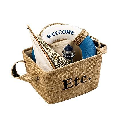 Cesta de almacenaje de yute, LoveTree lavandería cesta organizador Bin para libros, ropa,