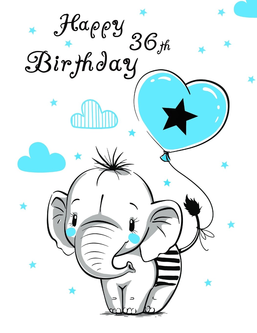 """Download Happy 36th Birthday: Notebook, Journal, Diary, 105 Lined Pages, Cute Elephant Themed Birthday Gifts for 36 Year Old Women or Men, Husband or Wife, ... Friend, Co-Worker, Book Size 8 1/2"""" x 11"""" PDF"""