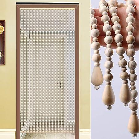 JIANFEI Cortina De Cuentas Madera Puerta Decoración Hogareña Cortina De Partición Pasillo Entrada Puerta 28 Tamaño (Color : White, Size : 140x176cm): Amazon.es: Hogar