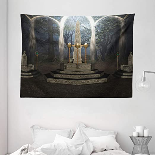 Amazon Com Ambesonne Gothic House Decor Collection The Ritual Scenery In Secret Forest Obelisk Between Marble Thrones With Skull Engraving Bedroom Living Room Dorm Wall Hanging Tapestry 80 X 60 Inches Grey Home
