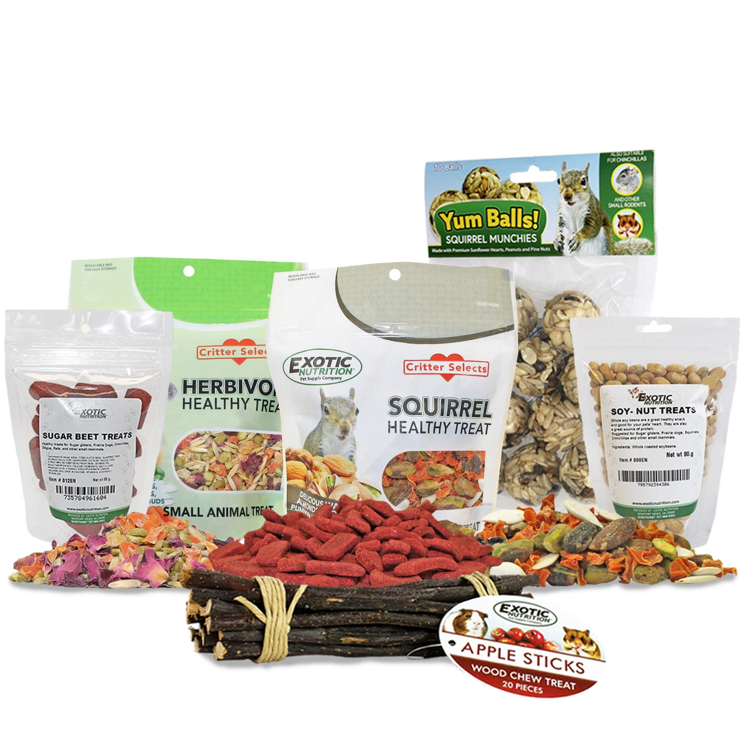 Squirrel Treat Bundle - Natural Healthy Assortment - Fruits, Veggies, Nuts, Seeds & Chews - Flying Squirrels, Ground Squirrels, Tree Squirrels, Chipmunks, Groundhogs, Prairie Dogs & Other Rodents by Exotic Nutrition
