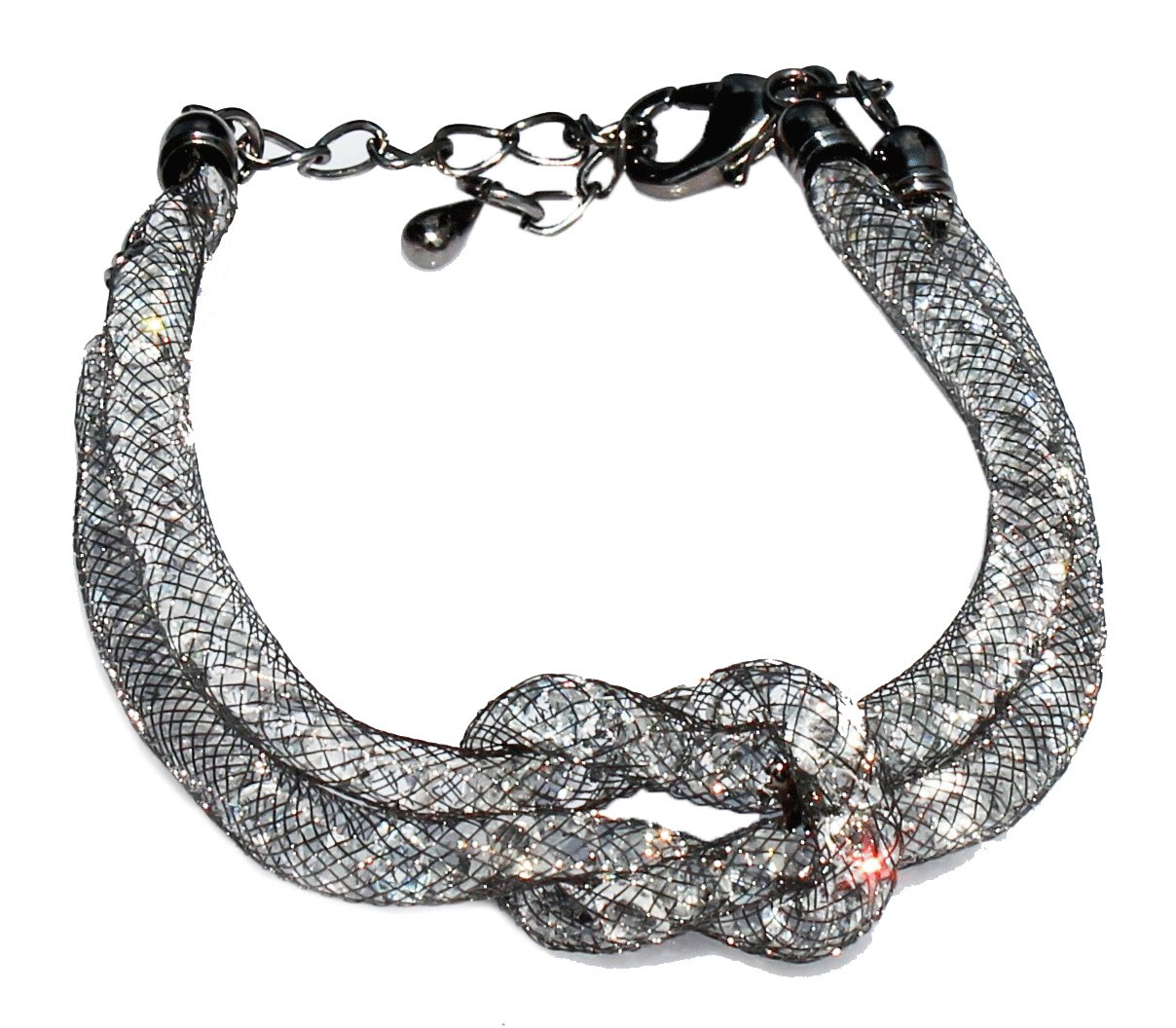 Gun Metal Knot Mesh Bracelet with Clear Crystals inside