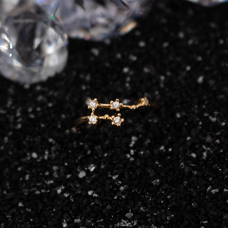 ccb46114ce Birthday Zodiac Constellation Ring with Cubic Zirconia Stones Made of Zinc,  Steel & Brass.