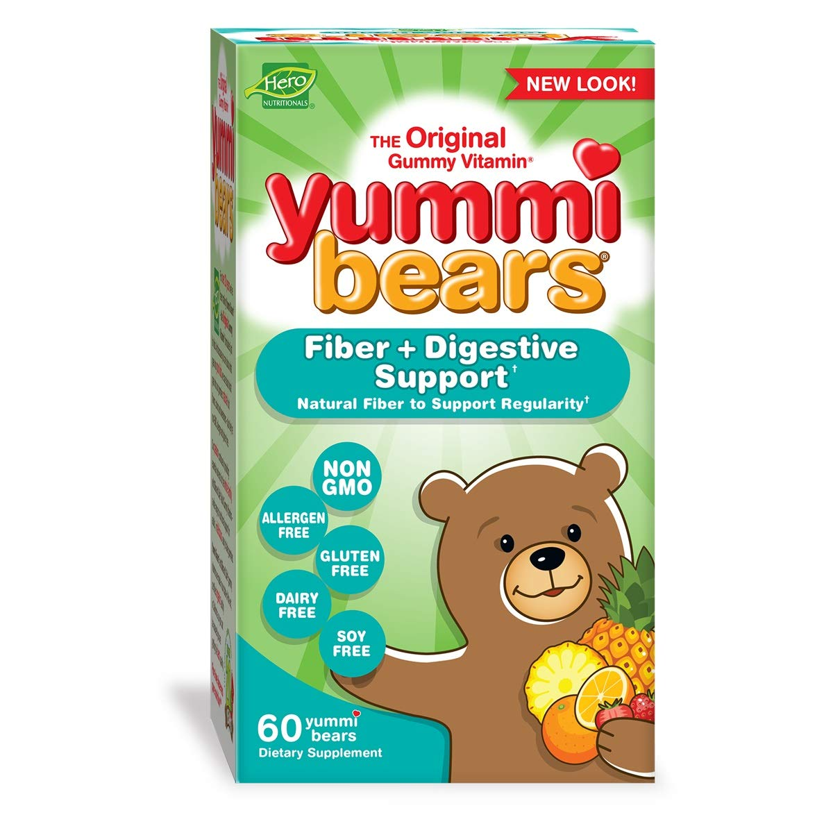 Yummi Bears Fiber Supplement Gummy Vitamin for Kids, 60 Gummy Bears