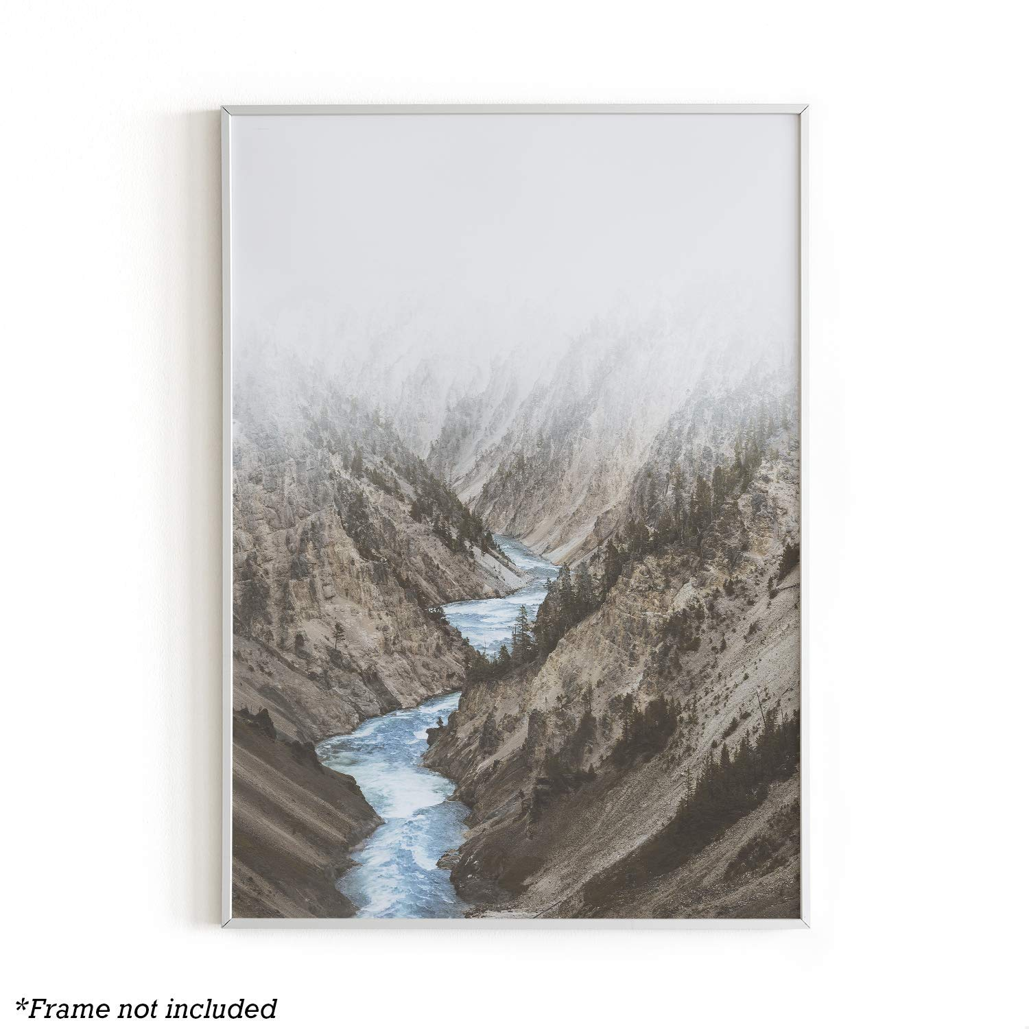 Rivers Wall Art Print by Urban Willow - Mountain, Nature, Landscape Themed Home, Office, Apartment, Dorm Wall Decor - Unframed/Frameable Poster Wall Decoration - 12 in x 16 in