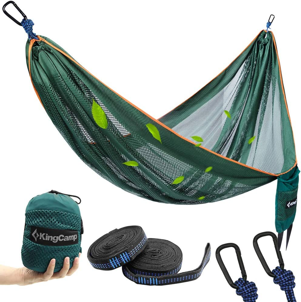 KingCamp Camping Hammock, Portable Mesh Hammock Breathable Lightweight Ice Silk Single Hammocks for Outdoor and Indoor, 330lbs Ultralight with 2 Tree Straps and Storage Bag(Green)