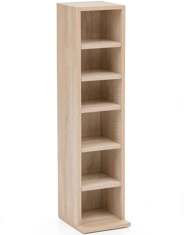 Design Bücherregal 21x91x20cm mit 6 Fächern Sonoma Standregal Holz Regal freistehend Schuhregal Holz Flur Schmales Wandregal Kinderzimmer Nieschenregal modern