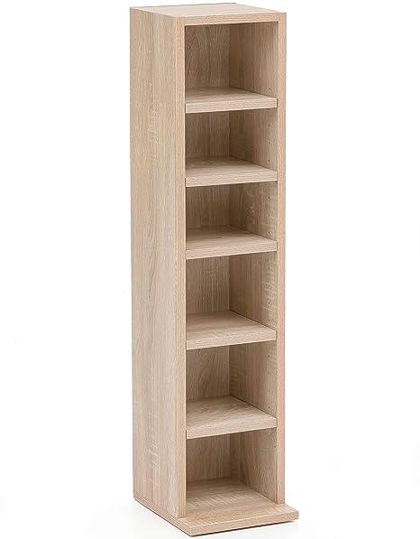 Design Bücherregal 21x91x20cm mit 6 Fächern Sonoma Standregal Holz ...