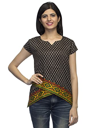 2512cbe8d12 Indietoga Women Glace Cotton Designer Printed Black Multi Colour High Low  top cap sleeves casual party wear tops for girls.