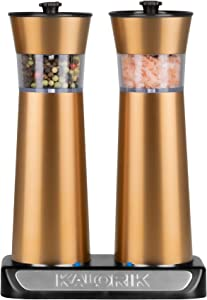 Kalorik Rechargeable Gravity Salt and Pepper Grinder Set (Copper)
