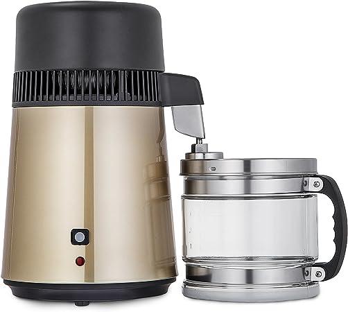 Cueffer 4L Destilador de Agua 220V 750W Purificador de Agua Filtro de Destilación de Agua Pura Destilación de Agua de Acero Inoxidable Pure Water Distiller con Botella de Colección (marrón claro): Amazon.es:
